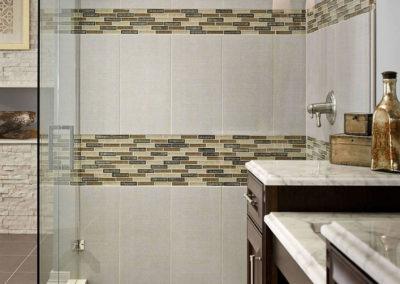 Arctic White Ledger Panels_Concrete Dimensions Porcelain_Calacatta Vagli Marble_Khaki Loft Porcelain_Venetian Cafe 1x4x8mm