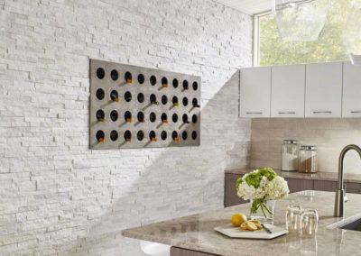 Bianco Aria Porcelain_Beige Crema Classique Ceramic_Ice Flakes Quartzite_Arctic White Ledger Panels