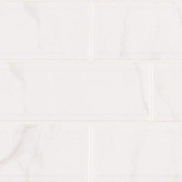 Classique White Carrara Glossy 4X16 Bev